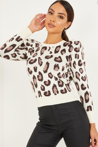 Cream Knitted Leopard Print Jumper